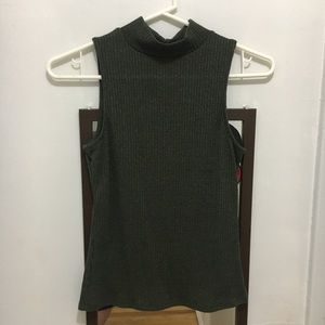 🌹Olive Green Ribbed Mock Neck Knit Tank BOGO50%